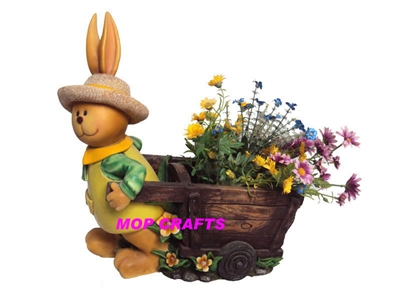 Polyresin Rabbit Garden Flower Planter, Resin Rabbit Flower Pot