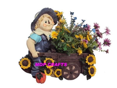 Polyresin Children Garden Flower Planter, Resin Girl Flower Pot