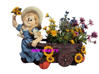 Polyresin Girl Garden Flower Pot, Resin Children Flower Planter